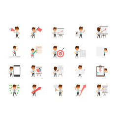 Set of happy office workers flat icons vector