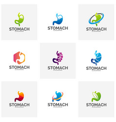 set of stomach logo template design stomach care vector image