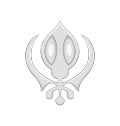 Sign sikhism icon black monochrome style vector