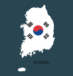 south korea map flat icon with long shadow eps10 vector image