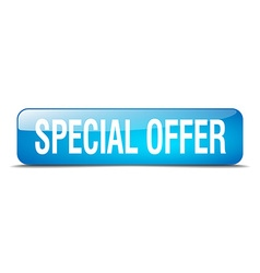 special offer blue square 3d realistic isolated vector image