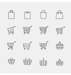 store bags signs or lined shopping basket modern vector image