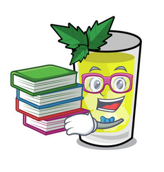 Student with book mint julep mascot cartoon vector