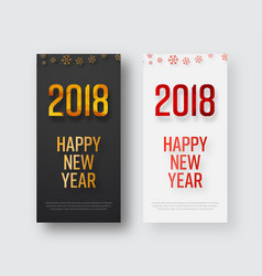 template of vertical banners happy new year 2018 vector image