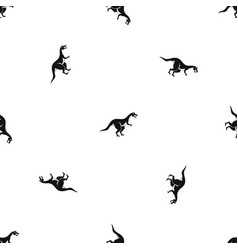 Theropod dinosaur pattern seamless black vector