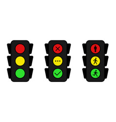 traffic light icons set yes no and wait stand vector image