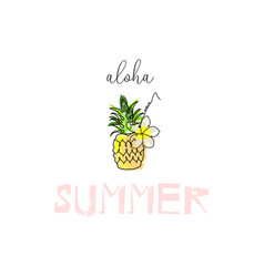 Tropical summer background with cute cartoon items vector