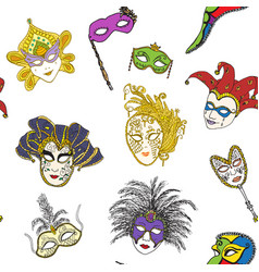 venice italy carnival masks seamless pattern hand vector image