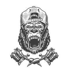 vintage ferocious gorilla head in cap vector image