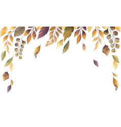 Watercolor autumn card with fallen leaves vector