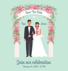 wedding invitation poster solemn happy wedding vector image