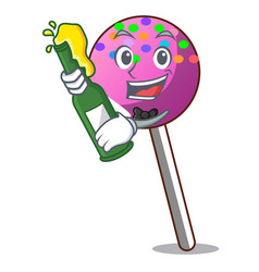 With beer lollipop with sprinkles mascot cartoon vector