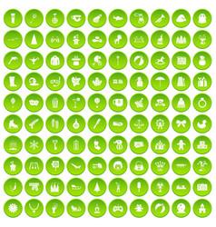 100 children icons set green vector image vector image