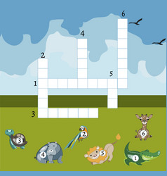 funny animals crossword for kids vector image