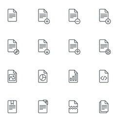 Set of Thin Line Document Icons vector image