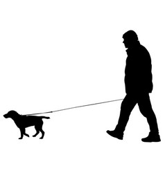 silhouette of people and dog vector image