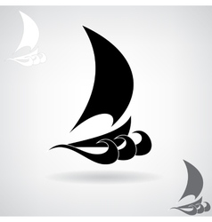 Stylized black silhouette of the ship vector