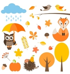 autumn set isolated on white vector image vector image