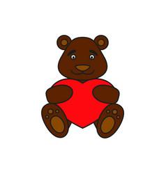 bear with heart icon vector image vector image