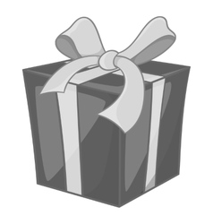 Christmas box with bow icon monochrome style vector image vector image