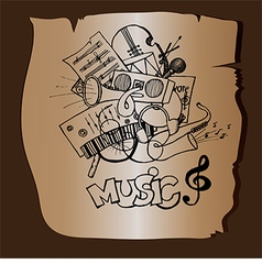 Doodle music on a brown background vector image