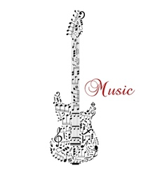 Guitar silhouette with musical notes vector image vector image