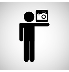 silhouette man sign camera media design vector image