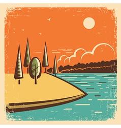 Vintage landscape with blue lake vector image vector image