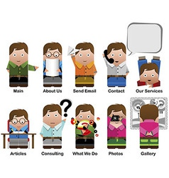10 cute characters vector image vector image