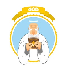 God and Holy Bible Good Grandpa keeps Holy Book vector image