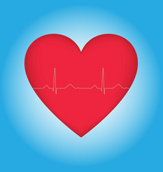 red heart with cardiogram vector image vector image
