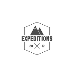 Vintage mountain expedition camping badge outdoor vector