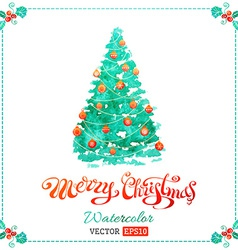 Watercolor Christmas tree background vector image vector image