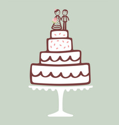 wedding cake with topper vector image