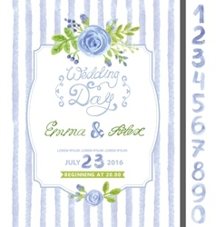 Wedding invitationWatercolor blue flowerstrips vector image vector image