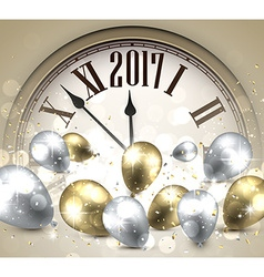 2017 New Year background with clock vector image vector image
