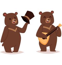 Cartoon bear set vector image