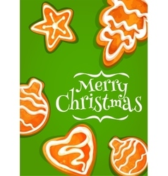 Gingerbread cookie poster for Christmas design vector image