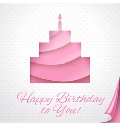 Happy birthday pink postcard with cake vector image vector image
