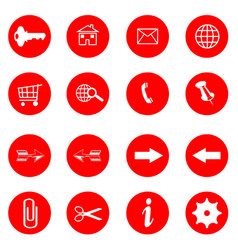 red buttons with internet icons set vector image vector image