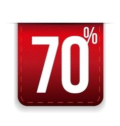 Seventy percent off ribbon red vector image