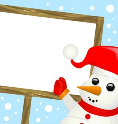 snowman with message sign vector image vector image