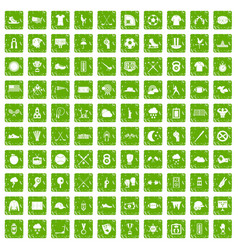100 baseball icons set grunge green vector image
