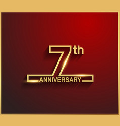 7 anniversary line style golden color vector