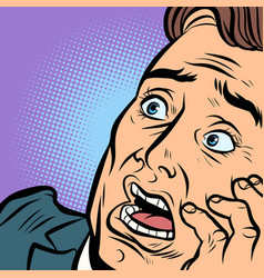 A frightened man fear and terror face close-up vector