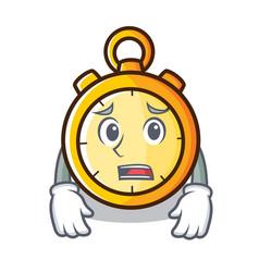 Afraid chronometer character cartoon style vector