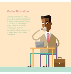African businessman drinking coffee with a laptop vector