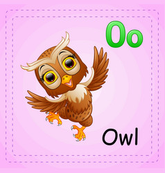 animals alphabet o is for owl vector image