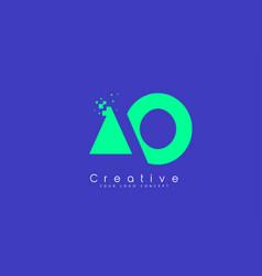 Ao letter logo design with negative space concept vector