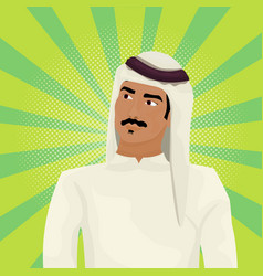 Arab business man in traditional clothes looking vector